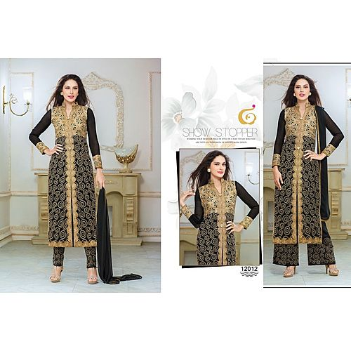 Designer Semi Stitched Black Stret Suit