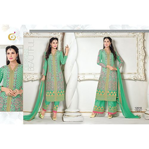 Designer Semi Stitched Green Anarkali Suit