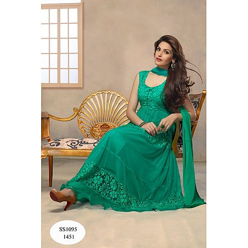 Designer Hot Equa Green Anarkali Suit