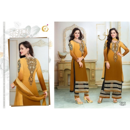 Designer Semi Stitched Yellow Stret Suit
