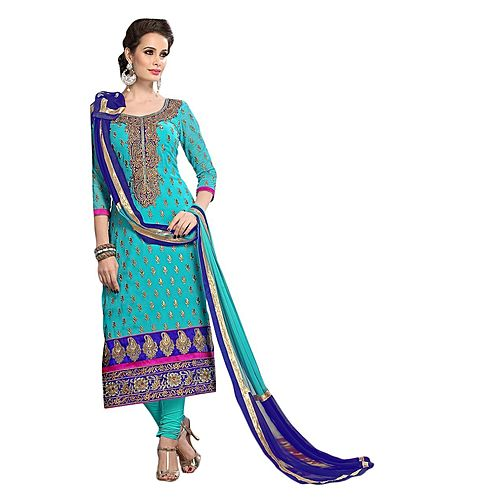 Metroz Women S Sky Blue Chanderi Unstitched Designer Dress Material