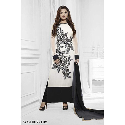 Beautiful Designer White And Black Georgette Salwar Suits