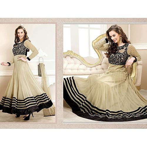 Evelyn Sharma Cream Embroidered Ankle Length Anarkali Suit