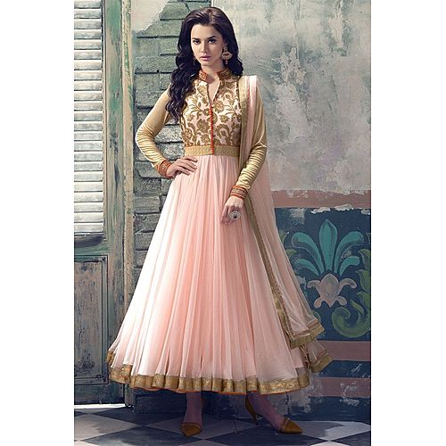 Light Pink Net Anarkali Suit Salwar Suit