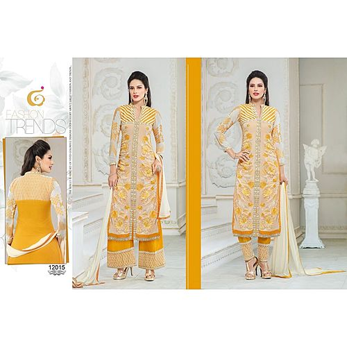 Designer Semi Stitched White And Yellow Stret Suit