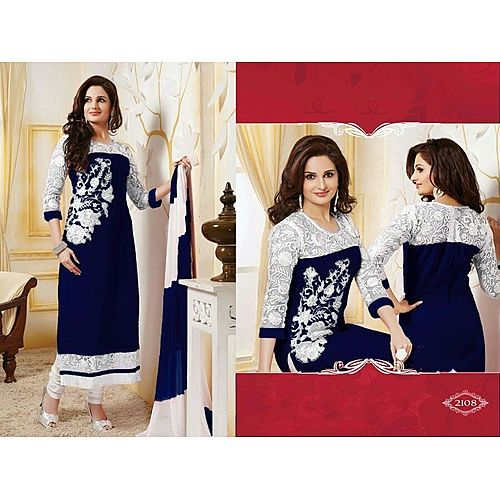 New Design Bollywood Indian Traditional Partywear Neavy Blue Suit