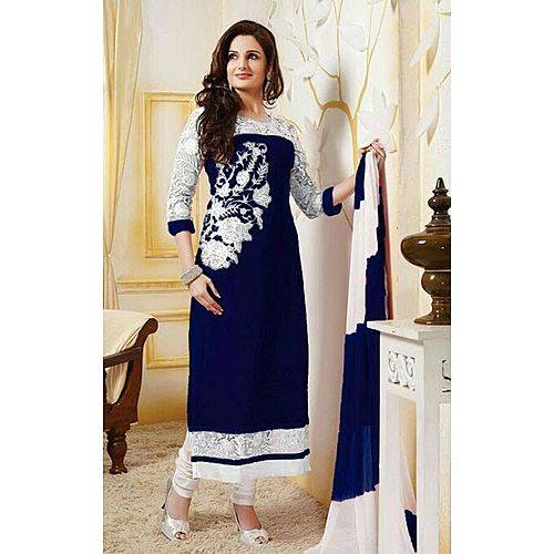 Designer Georgette Embroidered Straight Suit With Fashionable Dupatta
