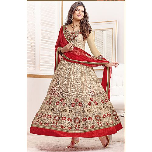 Sayali Bhagat Party Wedding Designer Anarkali Red Cream Salwar Kameez Suit