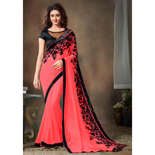 Pink Embroidered Georgette Party Wear Designer Saree available at Craftsvilla for Rs.949
