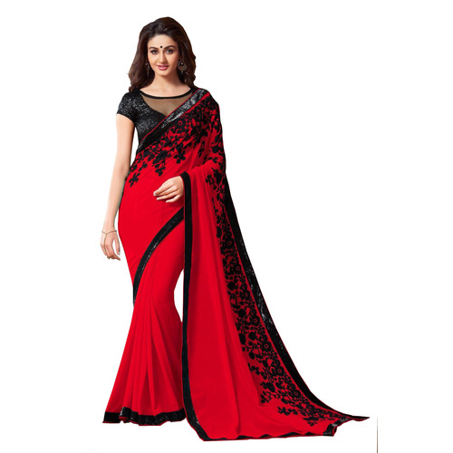 Red Embroidered Georgette Party Wear Designer Saree available at Craftsvilla for Rs.949