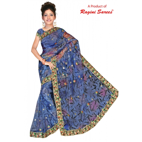 Designer Bright Soft Net Printed Saree With Embroidered