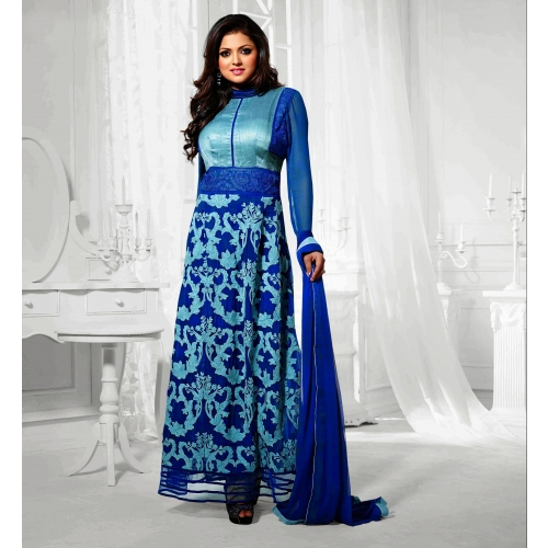 Beautiful Designer Blue Semi Stitched Anarkali Suit