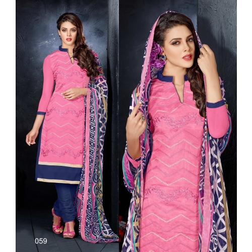 Rise N Sine Latest Embroidered Chanderi Cotton Churidar Suit 59