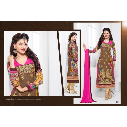 Urwashi Rautela Beautiful Georgette Print Multi Color Semi Stitched Salwar Suit