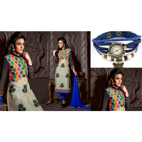 Festival Offer Combo Offer Traditional Salwar Suit With Casual Dark Blue Watch