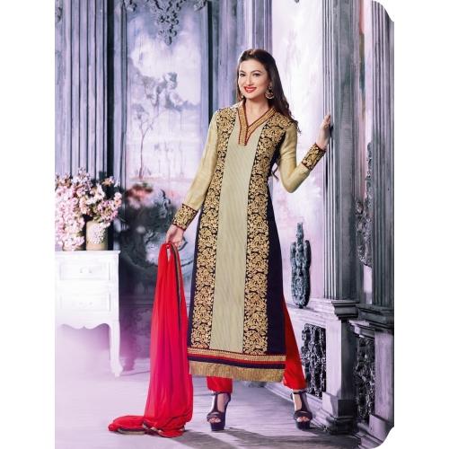 Gohar Khan Designer Cream Salvar Suit