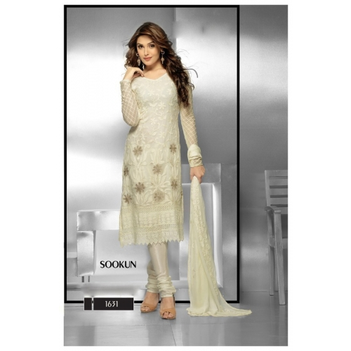 New Fashionable Embroidery Off White Designer Dress Material