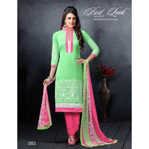 Rise N Shine Latest Embroidered Chanderi Cotton Churidar Suit 53