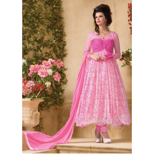 Designer Pink Hot Long Anarkali Suit