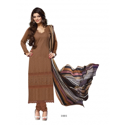 Gorgette Karachi Brown Semi Stiched Straight Suit