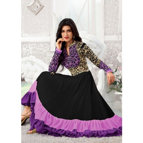 Kriti Senon Designer Black Purple Anarkali Suit