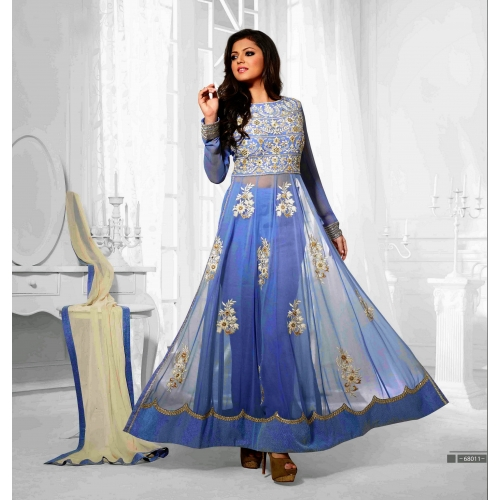 Beautiful Designer Sky Blue Semi Stitched Anarkali Suit