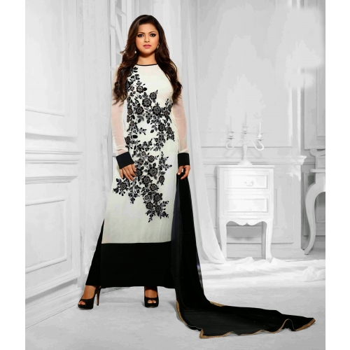 Beautiful Designer White Semi Stitched Anarkali Suit