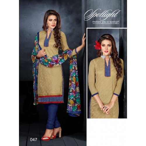 Rise N Shine Latest Embroidered Chanderi Cotton Churidar Suit 47