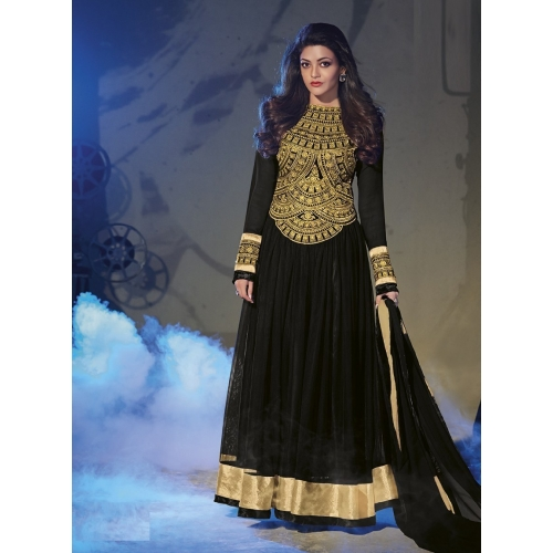 Kajal Agrawal Captivate Black Net Semi Stitched Anarkali Suit