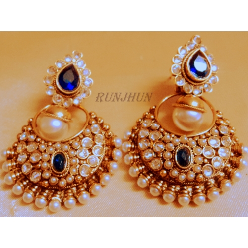 Royal Blue Pearl Danglers - Online Shopping For Earrings By Runjhun Designer Jewellery