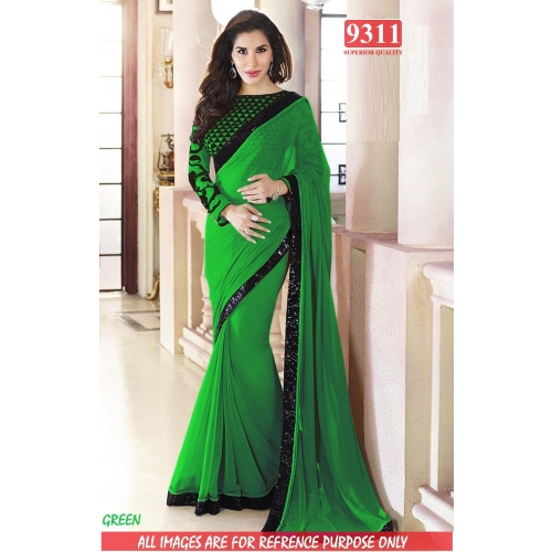 Designer Green Georgette Embroidered Original Party Wear Saree available at Craftsvilla for Rs.1399