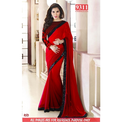 Designer Red Georgette Embroidered Original Party Wear Saree available at Craftsvilla for Rs.1399