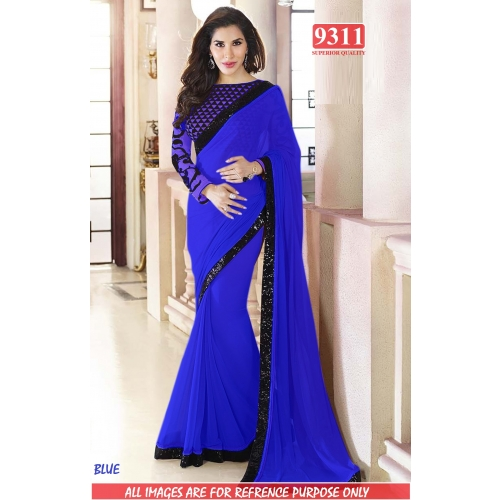 Designer Blue Georgette Embroidered Original Party Wear Saree available at Craftsvilla for Rs.1399
