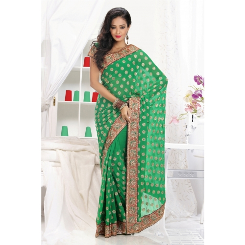 Embroidered Georgette Saree available at Craftsvilla for Rs.11400