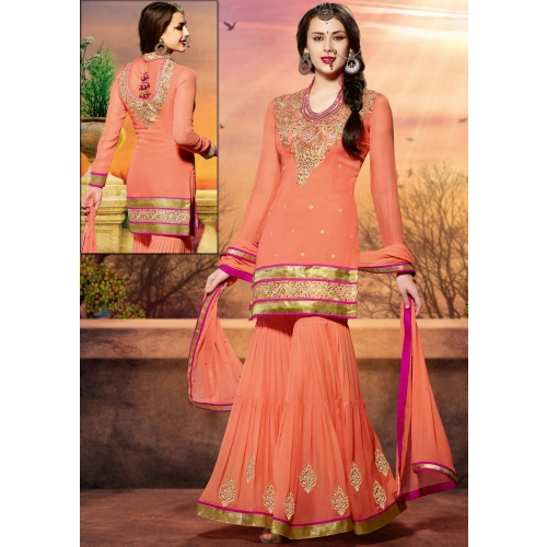 Buy ksv5r706 peach pakistani wedding sharara suit with for Sharara dress for wedding online shopping