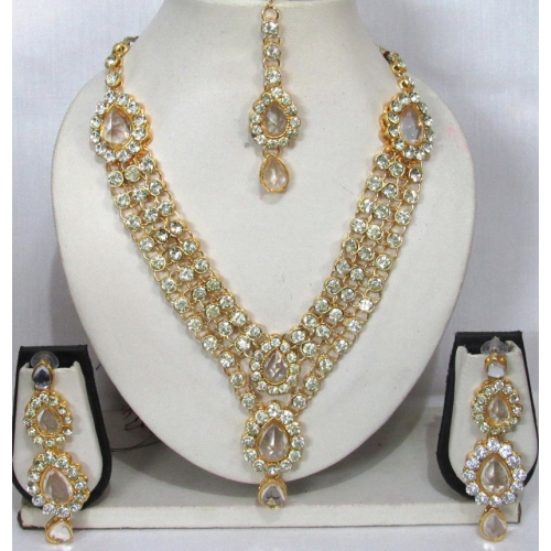white stone 3 line dulhan necklace set available at craftsvilla for. Black Bedroom Furniture Sets. Home Design Ideas