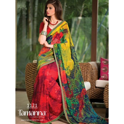 1121 Colorfull Digital Printed Georgette Saree Partywear Collection