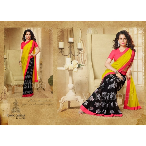 Fabulous Kangna Digital Printed Yellow Black Color Georgette Saree Skyvarsiddhi508