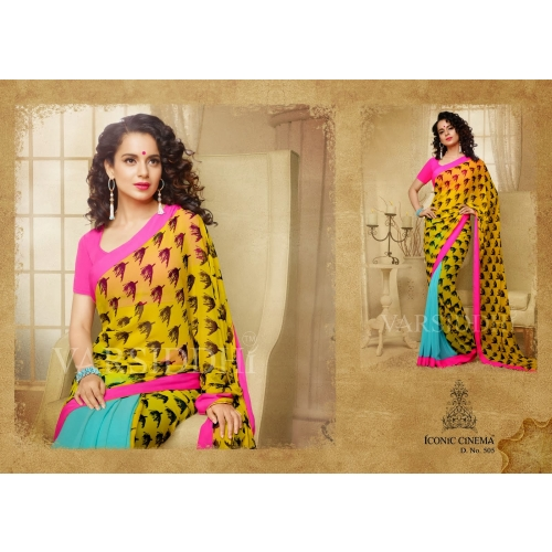 Fabulous Kangna Digital Printed Yellow Blue Color Georgette Saree Skyvarsiddhi505