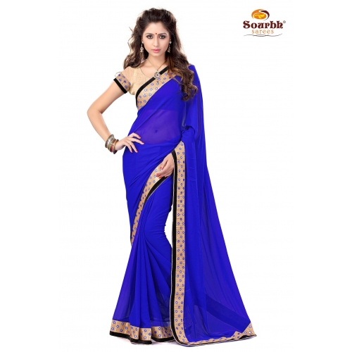 Stylish Royal Blue Embroidered Designer Party Wear Saree available at Craftsvilla for Rs.1399