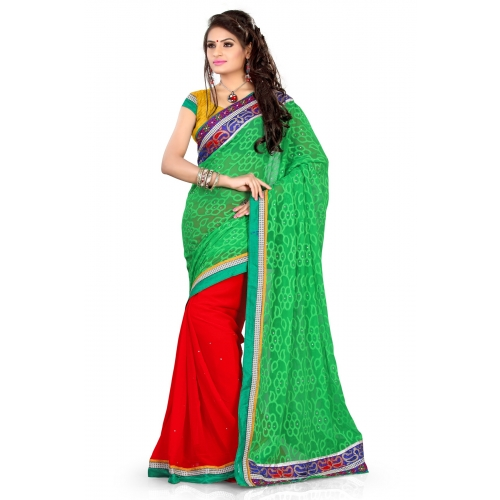 Classic Green And Red Embroidered Designer Party Wear Saree available at Craftsvilla for Rs.795