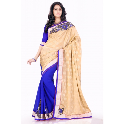 Beige And Blue Half And Half Embroidered Designer Wedding Party Wear Saree available at Craftsvilla for Rs.1395