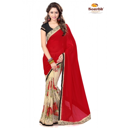 Stylish Red And Beige Embroidered Designer Party Wear Saree available at Craftsvilla for Rs.1399