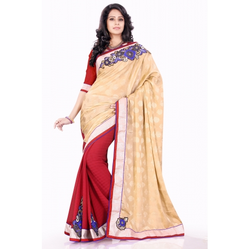 Beige And Red Half And Half Embroidered Designer Wedding Party Wear Saree available at Craftsvilla for Rs.1395