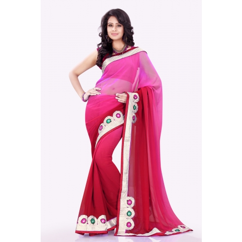 Trendy Pink Embroidered Designer Wedding Party Wear Saree available at Craftsvilla for Rs.1395