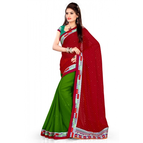 New Fashion Red And Green Embroidered Designer Party Wear Saree available at Craftsvilla for Rs.795