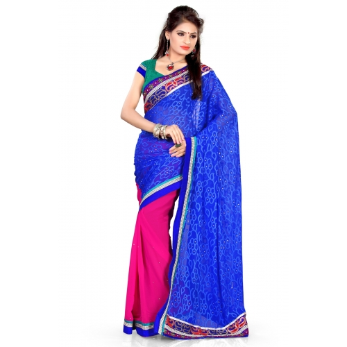 New Fashion Blue And Magenta Embroidered Designer Party Wear Saree available at Craftsvilla for Rs.795