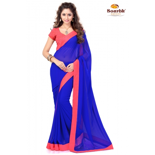 Stylish Blue And Peach Embroidered Designer Party Wear Saree available at Craftsvilla for Rs.899