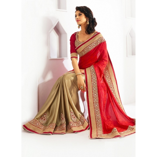 Embroidered Red Faux Georgette Party Wear Bollywood Replica Indian Designer Saree available at Craftsvilla for Rs.3910