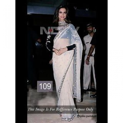 Bollywood Deepika Padukone White Saree
